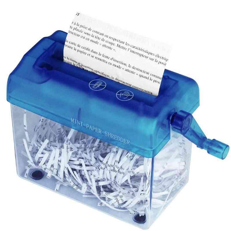 A6 Office Mini Manual Hand Paper Shredder With Bin