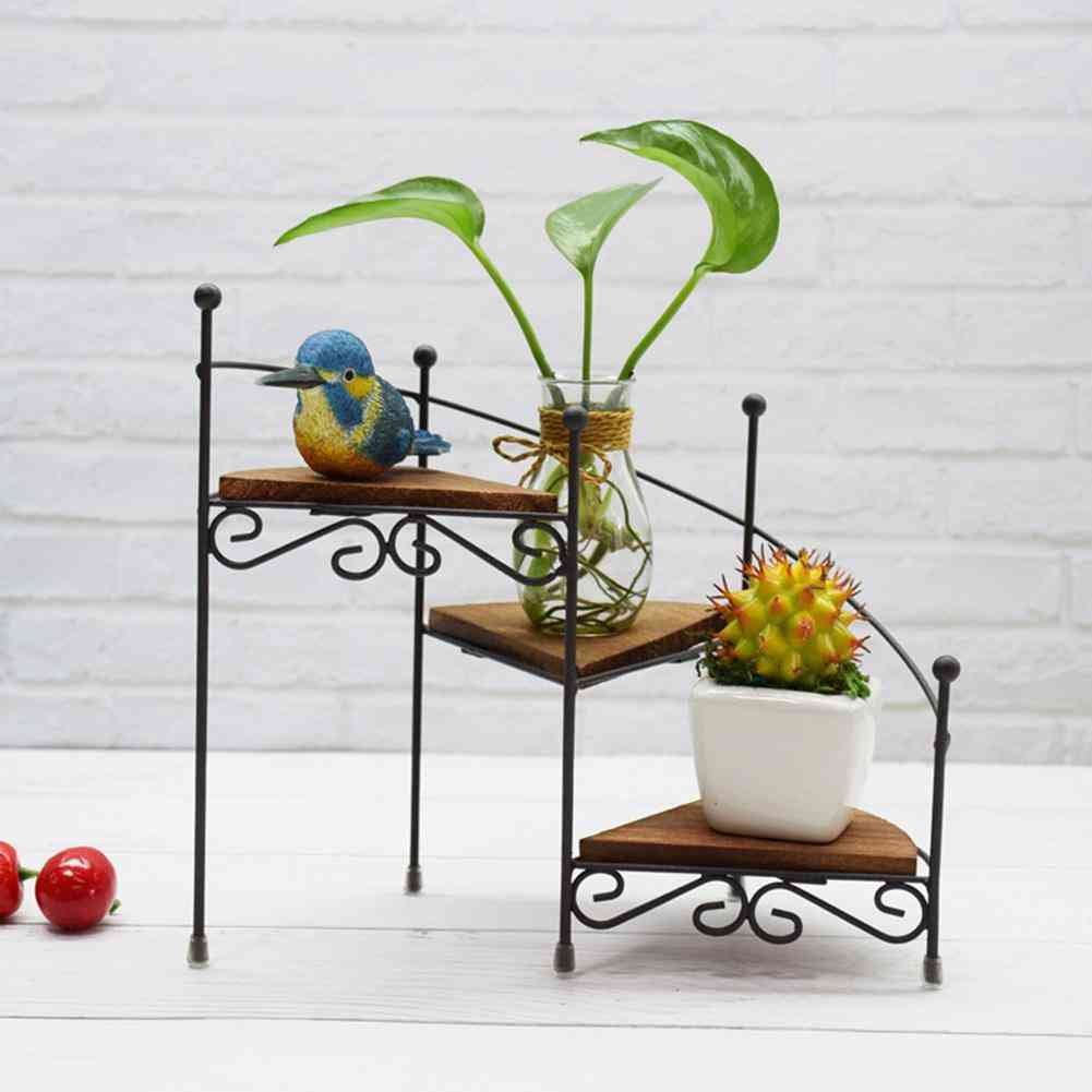 Mini Iron Art 3 Layers Flower Stand For Home
