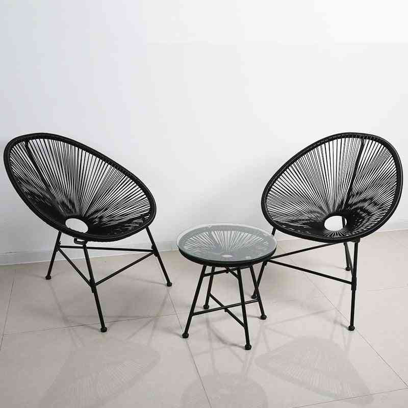 Outdoor Rattan Chair Three-piece Balcony Garden Patio Outdoor Furniture Leisure Rattan Art Furniture
