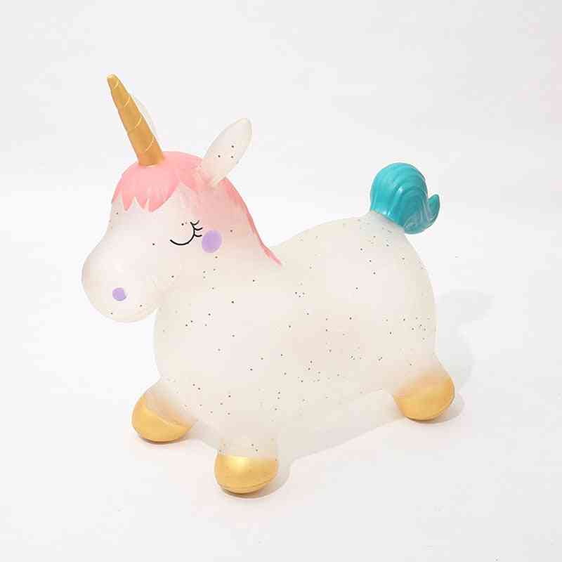 Children Cute Unicorn Inflatable Ride On Animal, Jumping Horse, Bouncy Sports Games For Kids, Baby