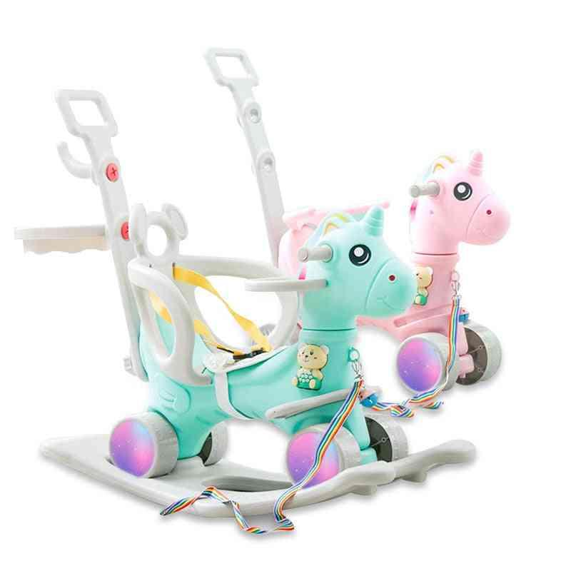 Children Cute Unicorn Rocking Horse Stroller, Flashing Wheel Pram, Baby Music, Multi-function Rocking Chair, Kids
