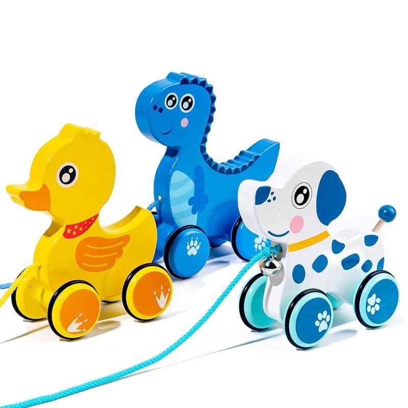 Baby Pull Rope Walking Toy, Cartoon, Drag Car Animal Rope Car,