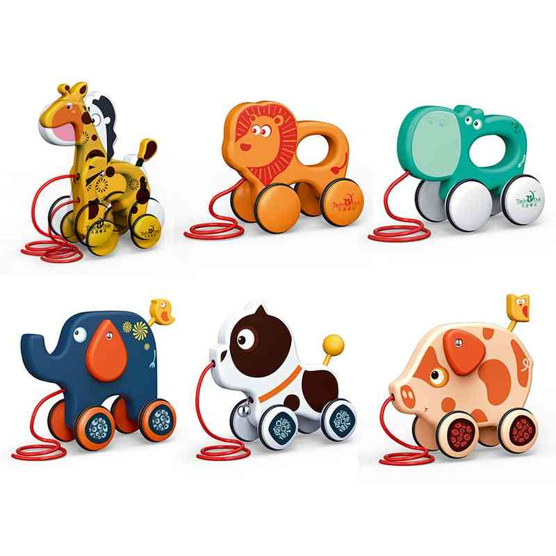 To Pull Animal Newborn Early Teaching Walker, Baby Toddler Toy, Cartoon Animal Trailer, Hand Push Car