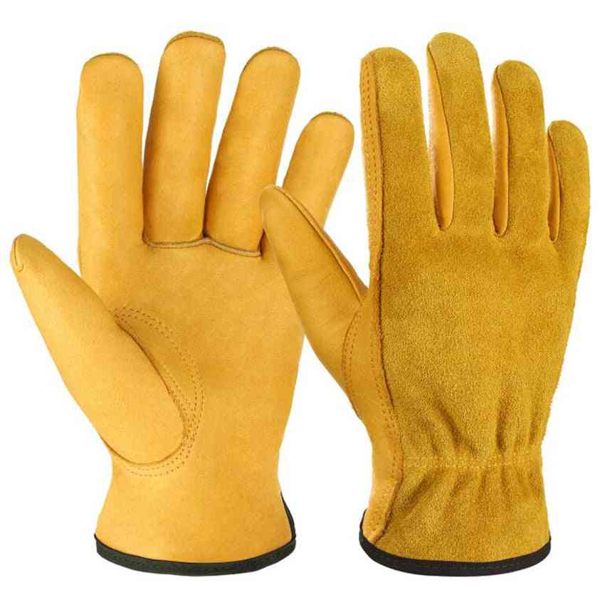 Leather Work Gloves With Elastic Wrist