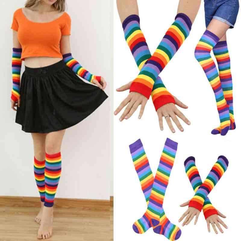 Women Socks, High Striped Slim Leg Stockings, Hand Gloves