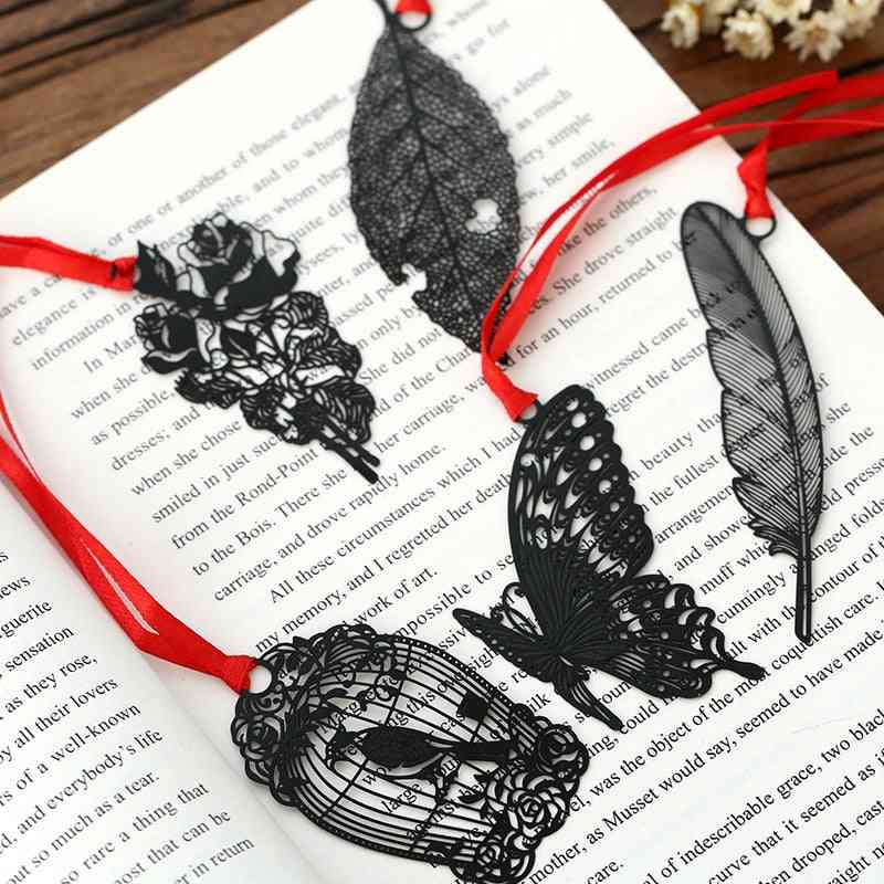 Kawaii Black Butterfly Feather Metal Bookmark