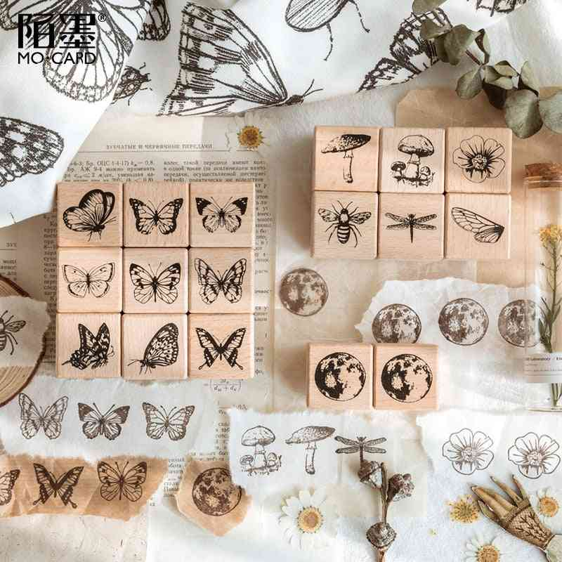 Moon Decorative Mounted Rubber Stamp