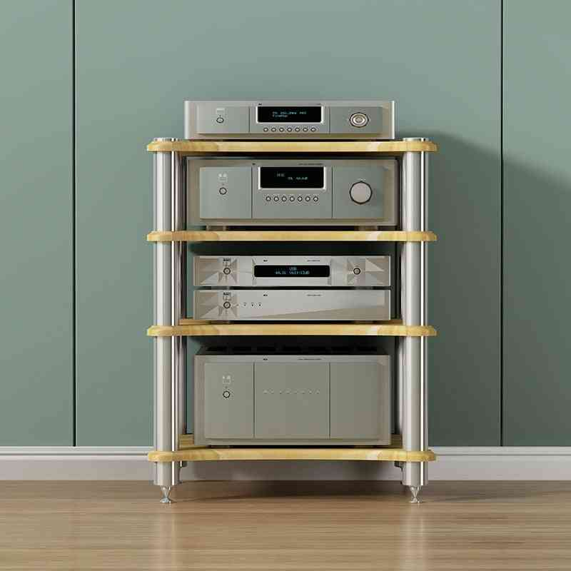 Three Layer Hifi Audio Cabinet Power Amplifier Rack Speaker With Shock Absorber Nail Shelf