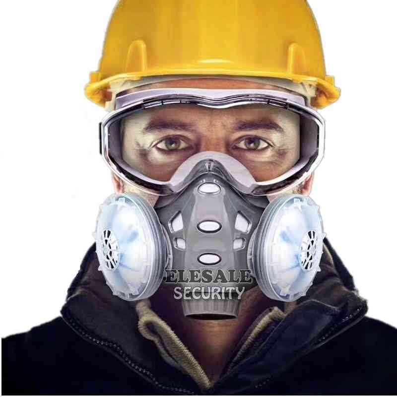 Dust Respirator With Safety Glasses Dual Filters Full Face Mask