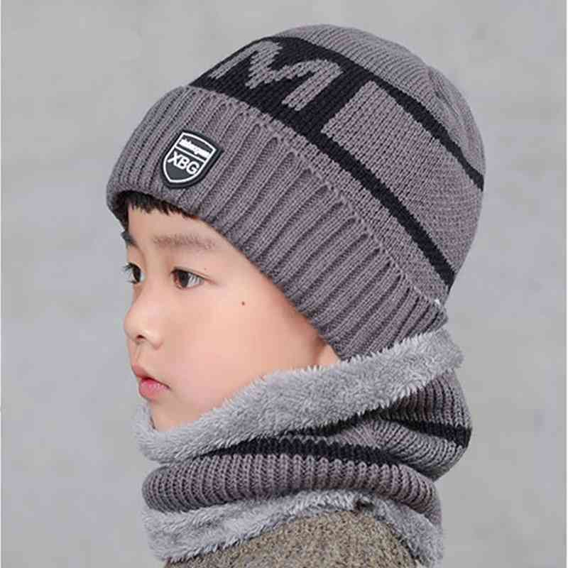 Windproof Wool Children Warm Hat Two-piece Protection Face Neck Ear Mask