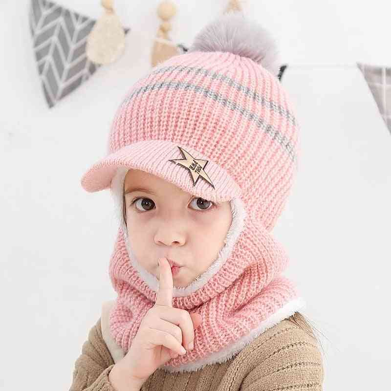 Child Winter Warm Protection Ear Cap, Kids Hat And Scarf