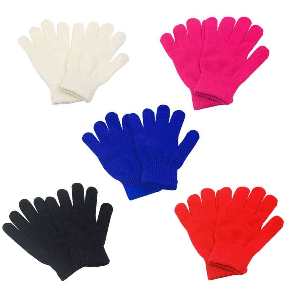 Girls Kid Full Finger Stretchy Knitted Winter Warm Pick Gloves