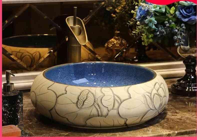 Jing Yan Carved Lotus Art Terrace Basin