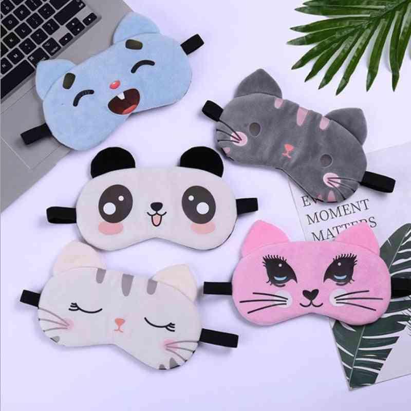 Cartoon Animal Cute Travel Aid Sleeping Mask Shade Soft Natural Sleeping Portable.