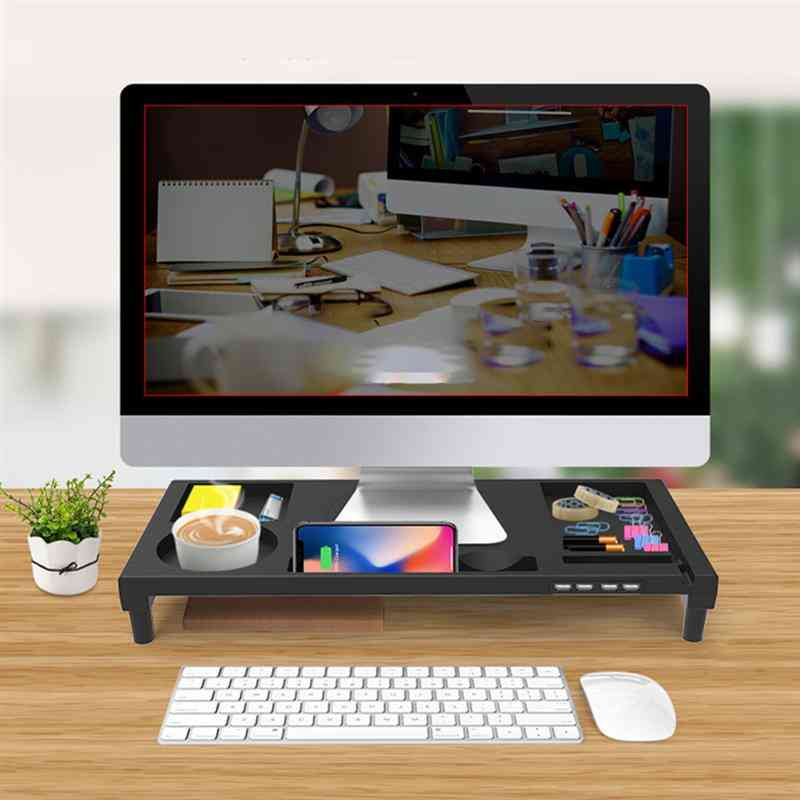 Non-slip Desk Riser With 4-ports Usb Charger For Imac Macbook Pro Air