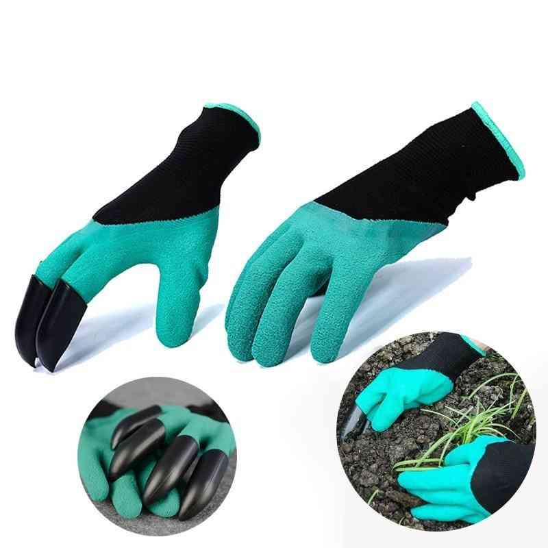 Household Garden Digging Gloves With Fingertips Claws