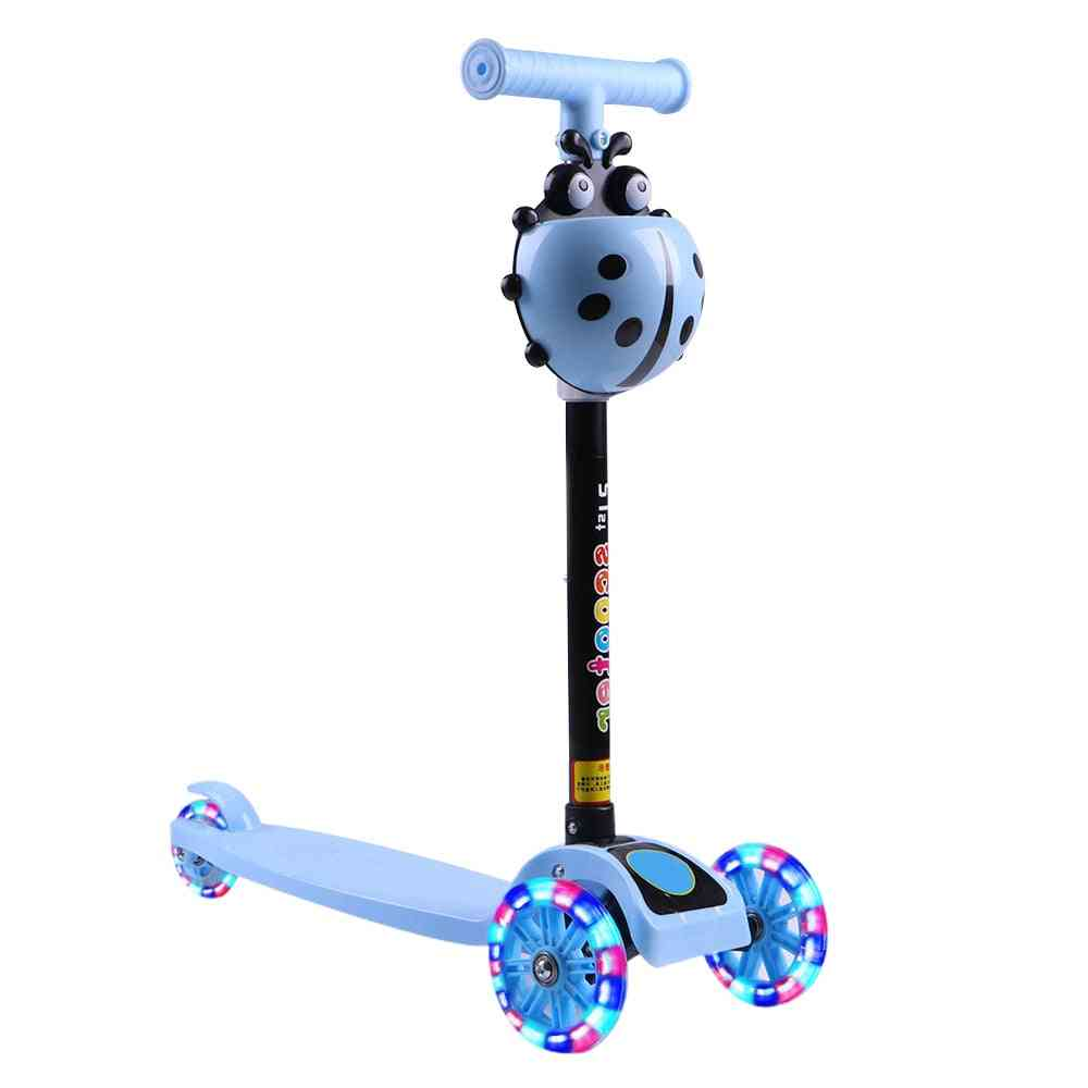 Children Adjustable Foot Scooters, 3 Wheel, Height Flashing Led Light, City Roller,, Unisex, Kick Scooter