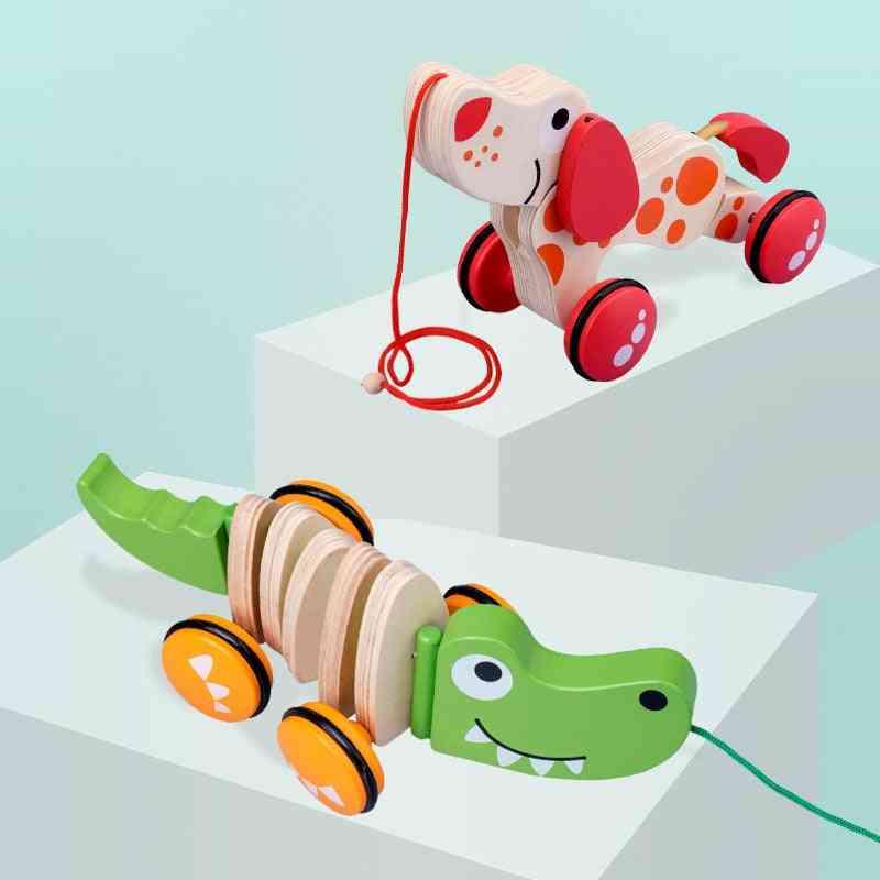 Baby Stroller Toy Car Small Dog Crocodile Hand Push Trailer Pull Rope.