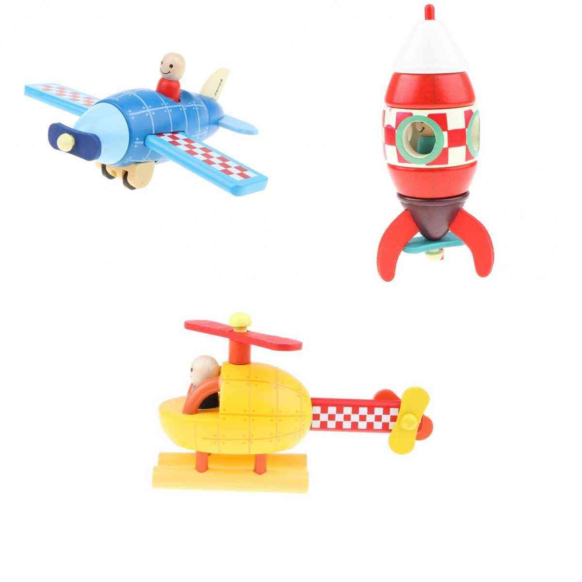 Wooden Assembled Magnetic Aircraft Model For Kids Toddlers Educational Toy,
