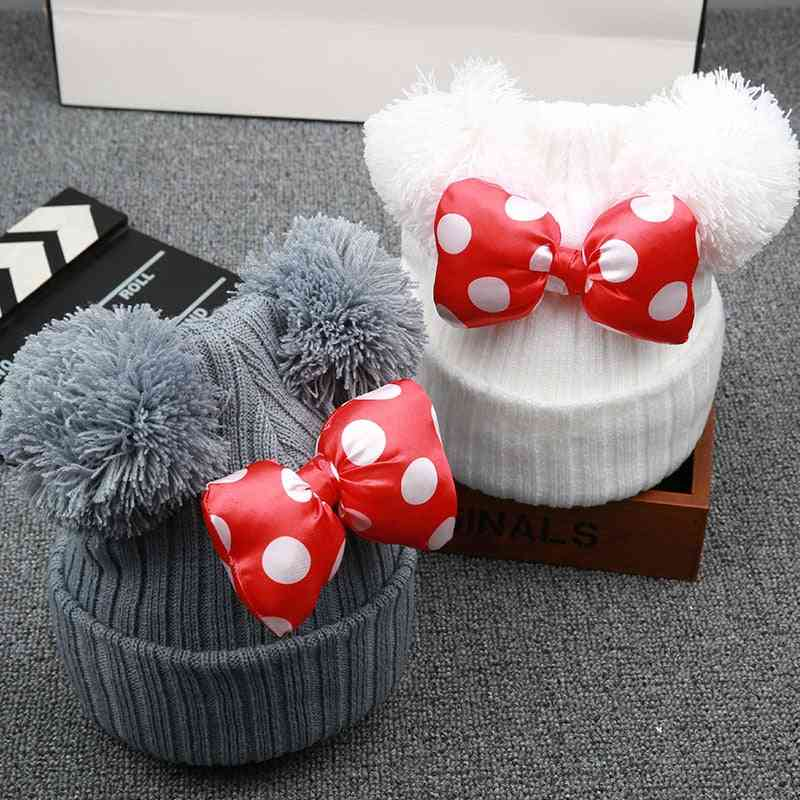 Winter Bowknot Hat Baby Cap, Thick Warm Cap