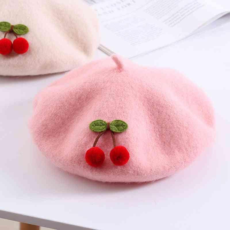 Children Cherry Beret Winter High-quality Beret Hat Cap