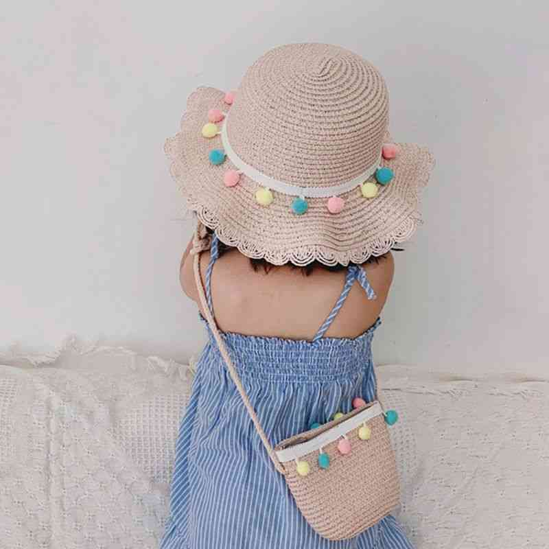 Girls Brim Straw, Sun Protection Beach Hat Cap
