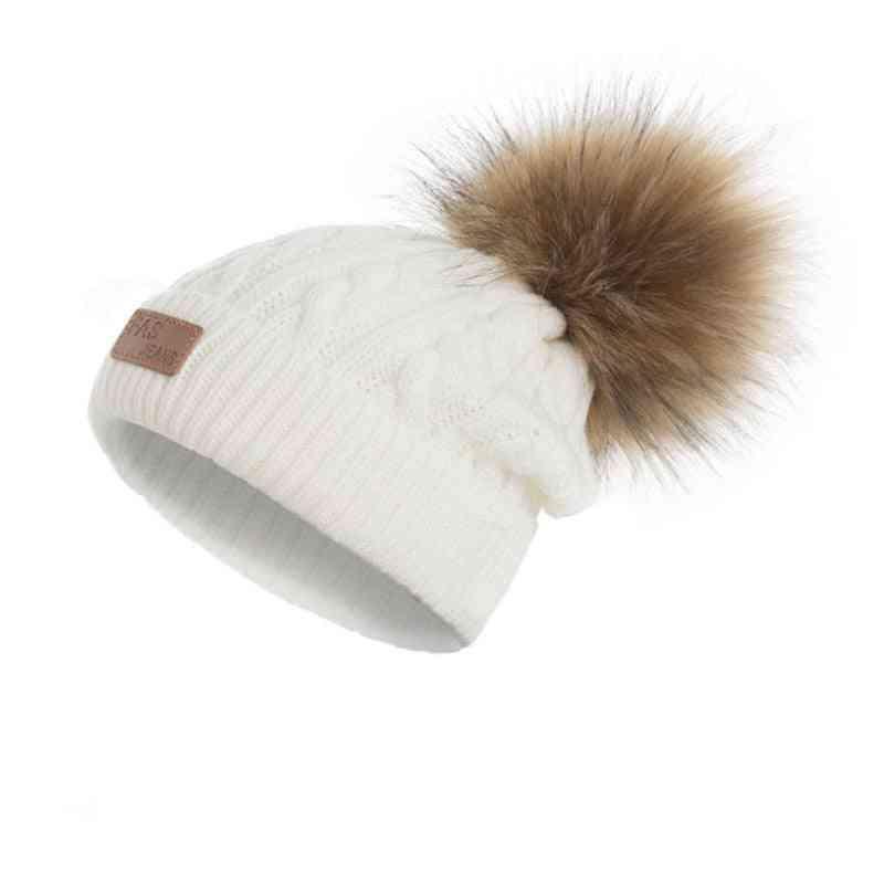 Winter Beanies Hat, Pompoms Warm Knitted Skullcap