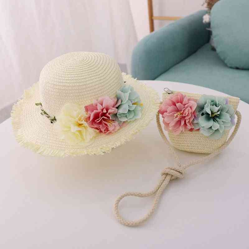 Summer New Straw Hat, Baby Hat Matching Bag