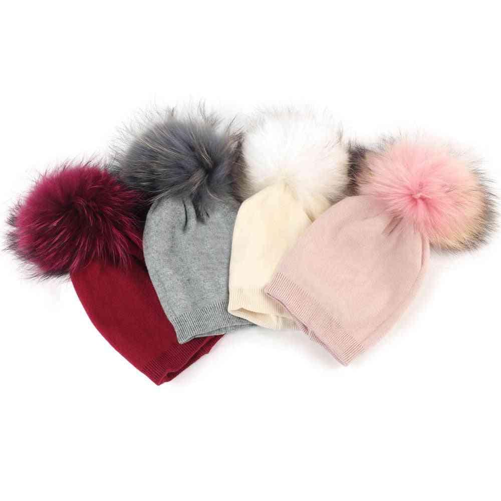Baby Beanie Hat, Autumn Wool Pompon Hat