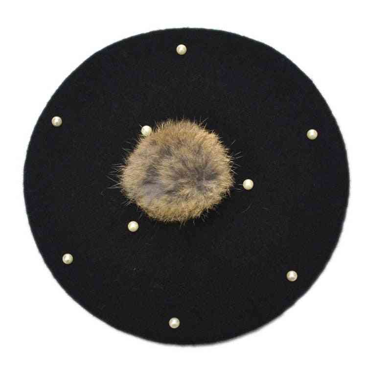 Rabbit Fur Beret Hat For Baby, Beanie Hats