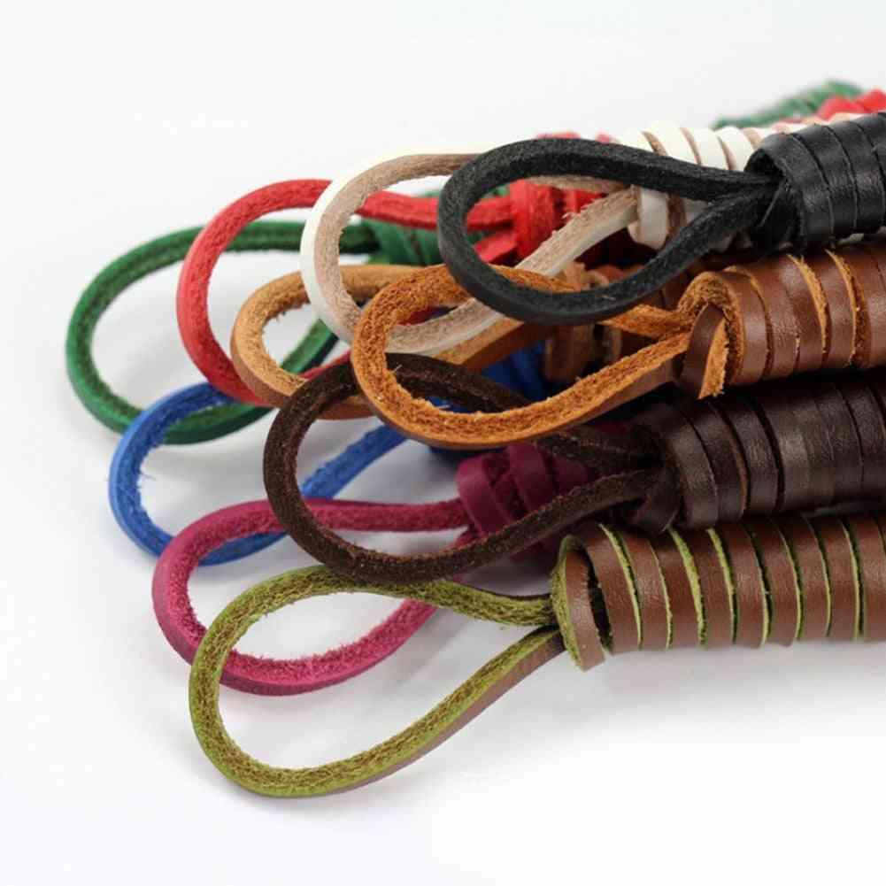 1 Pair Square Genuine Leather Shoelaces