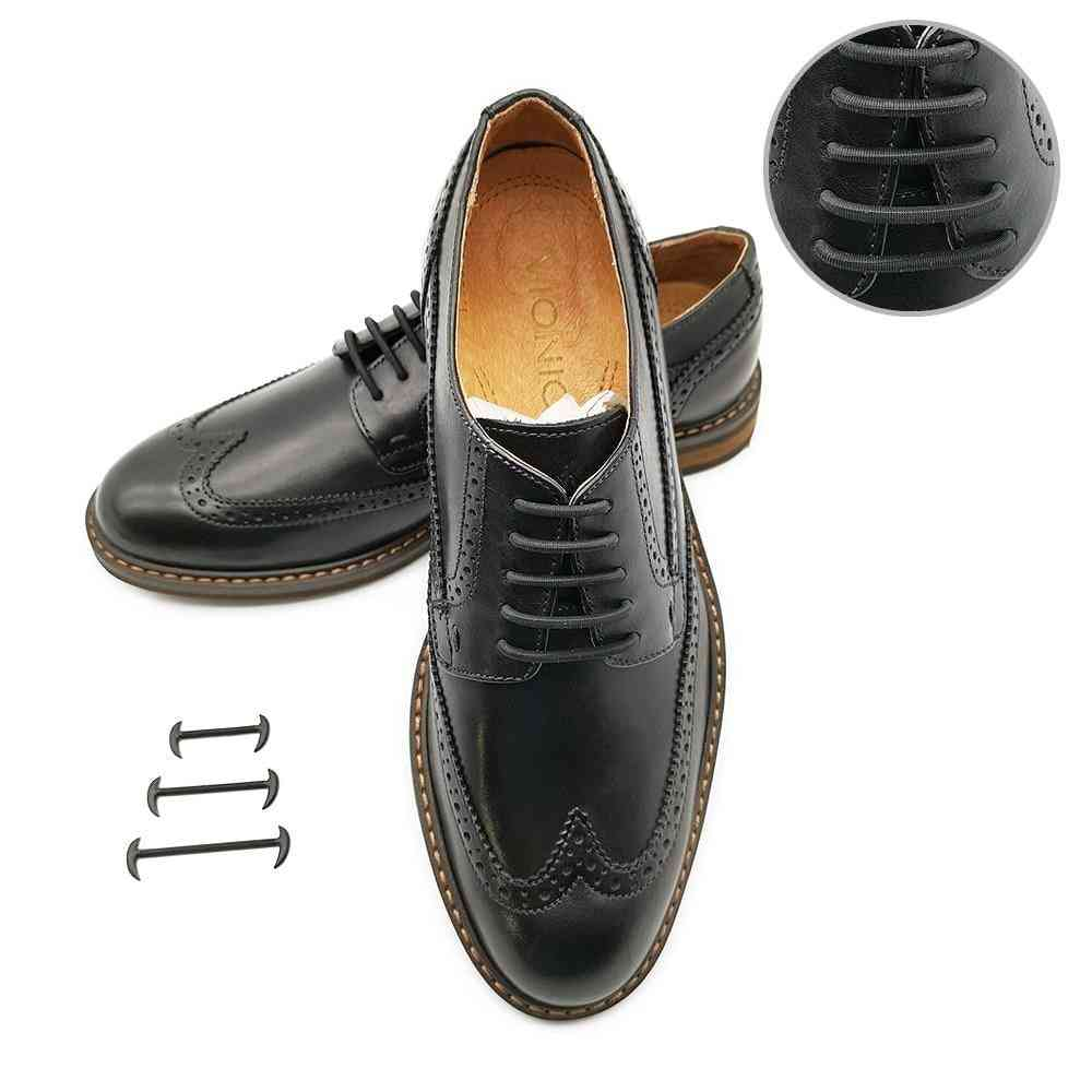 High Elastic Men/women Leather Shoes Rubber Silicone Shoelaces
