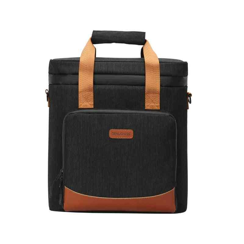Leakproof Picnic Cooler Bag, Vintage Leather Refrigerator- Bag