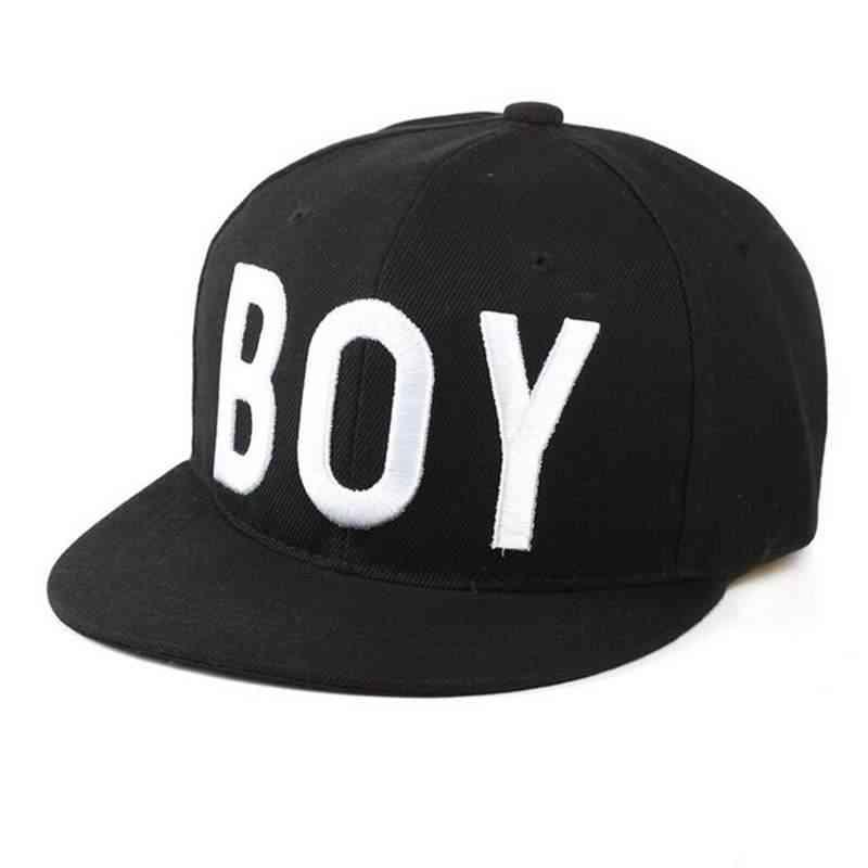 Kids Cotton Black White Snapback Hip Hop Cap