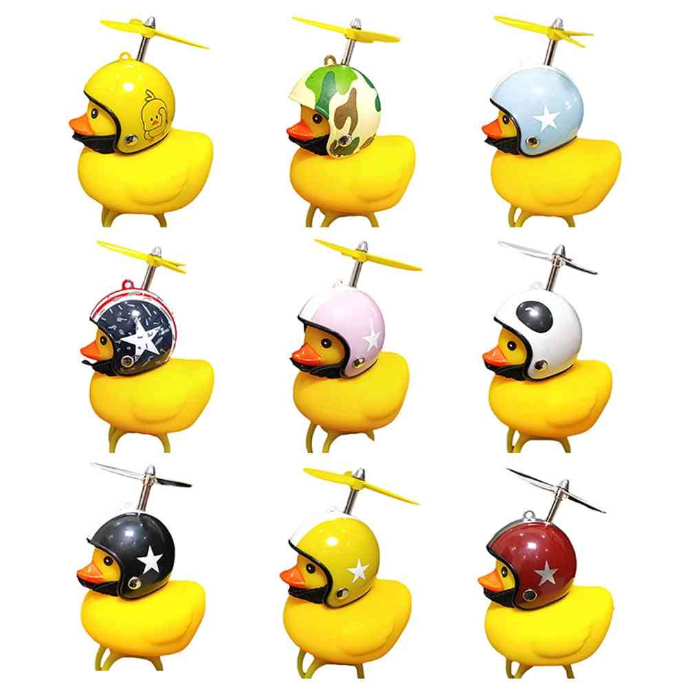 Kids Bicycle Bell Warning Yellow Duck Shape Horn Adult Light Rubber For Helm Scooter