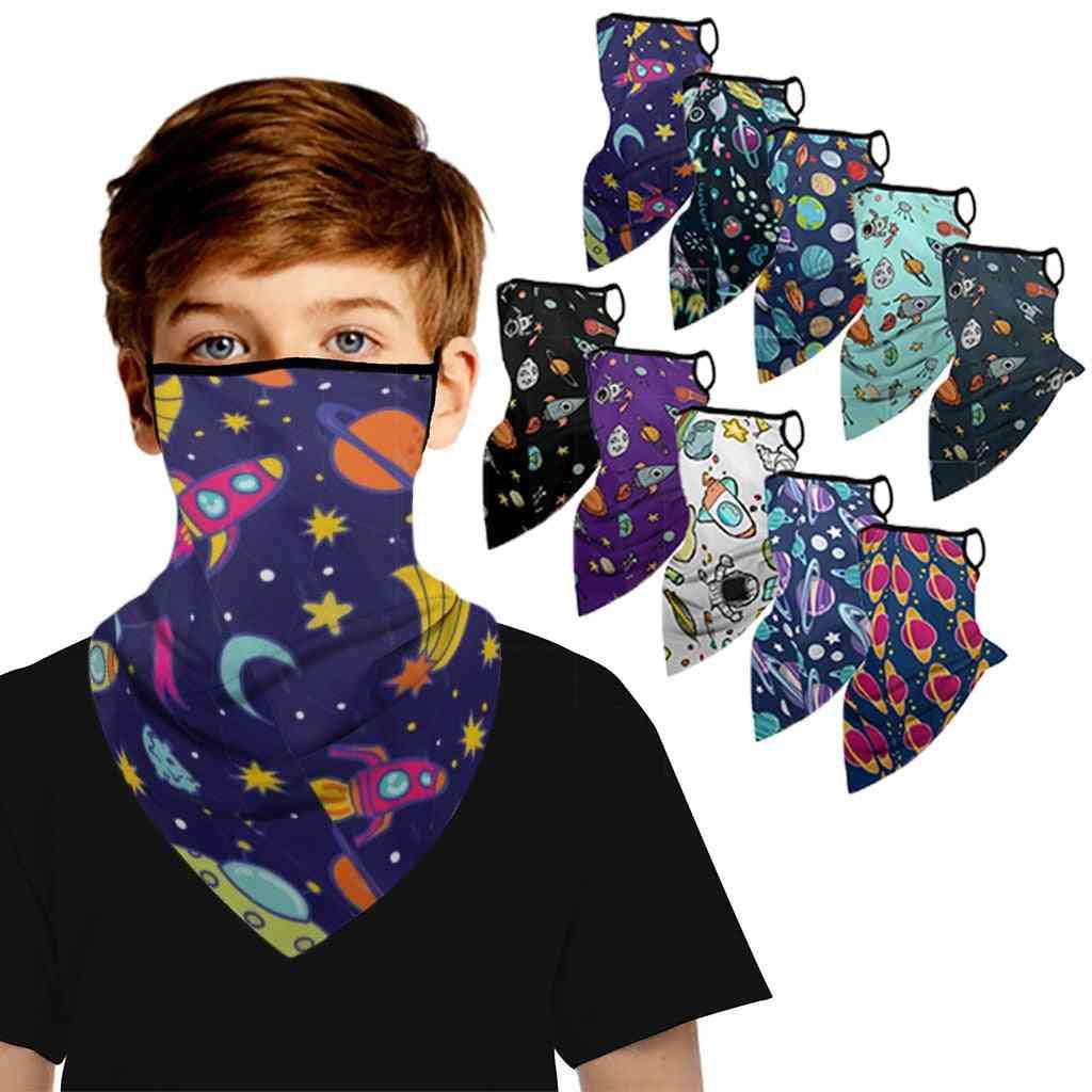 Children Planet Space Astronaut Print Ear Loops Bandana Neck Scarf