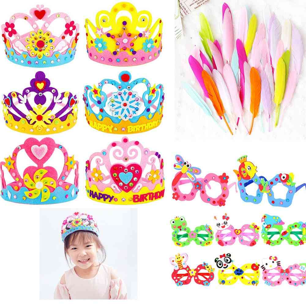 Diy Crafts Toy Crown, Flowers, Feather, Creative Montessori, Patterns,, Kindergarten Art, Party Decorations