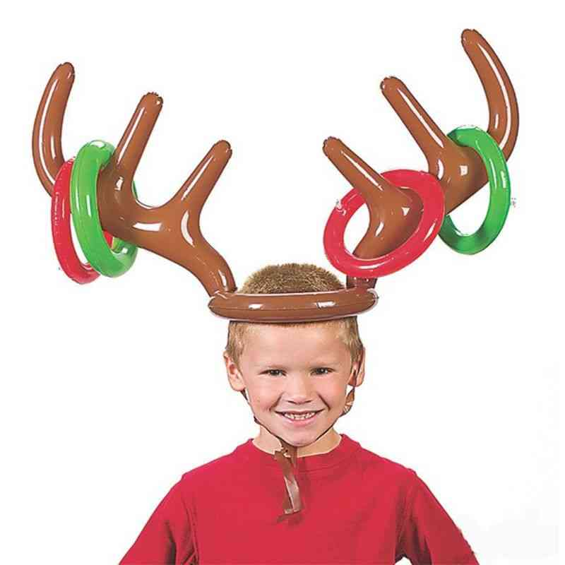 Inflatable Reindeer Antler Ring, Christmas Hat, Toss Game Props, Xmas Holiday Party Fun
