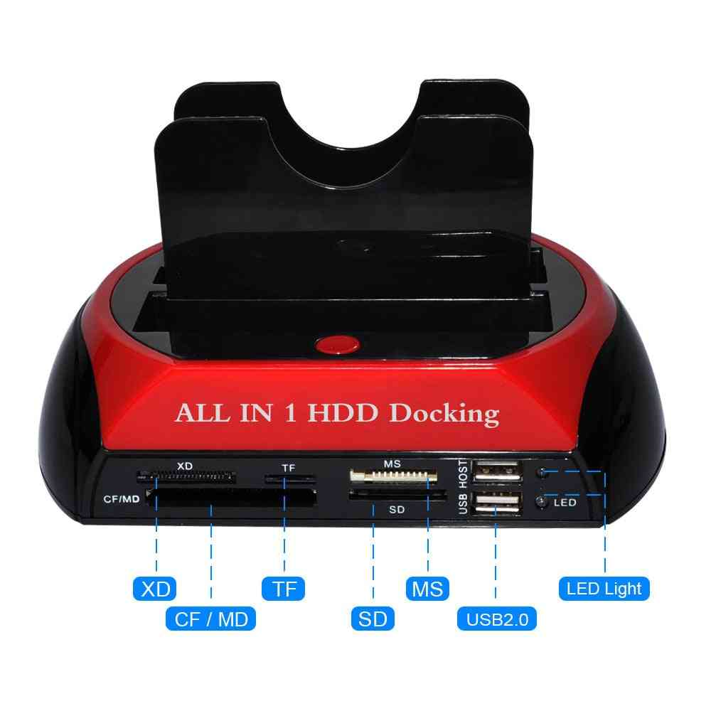 Hard Drive Docking Station Usb2.0/type C To 2.5 3.5 Inch Sata Ide Dual Slots External Hdd Ssd Enclosure With Card Reader