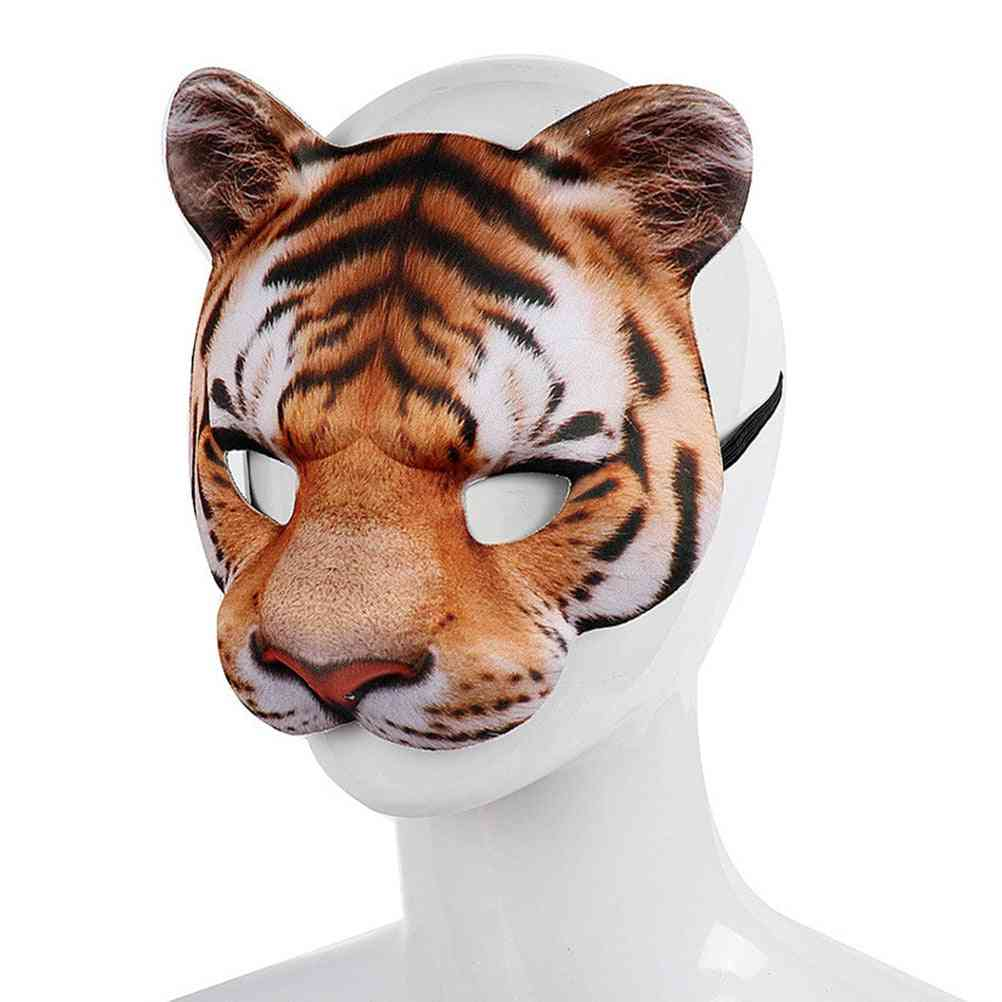 Tiger Cosplay Mask, Eva Half Face For Festive, Party, Masquerade Ball Costume Masks, Animal Shape Props