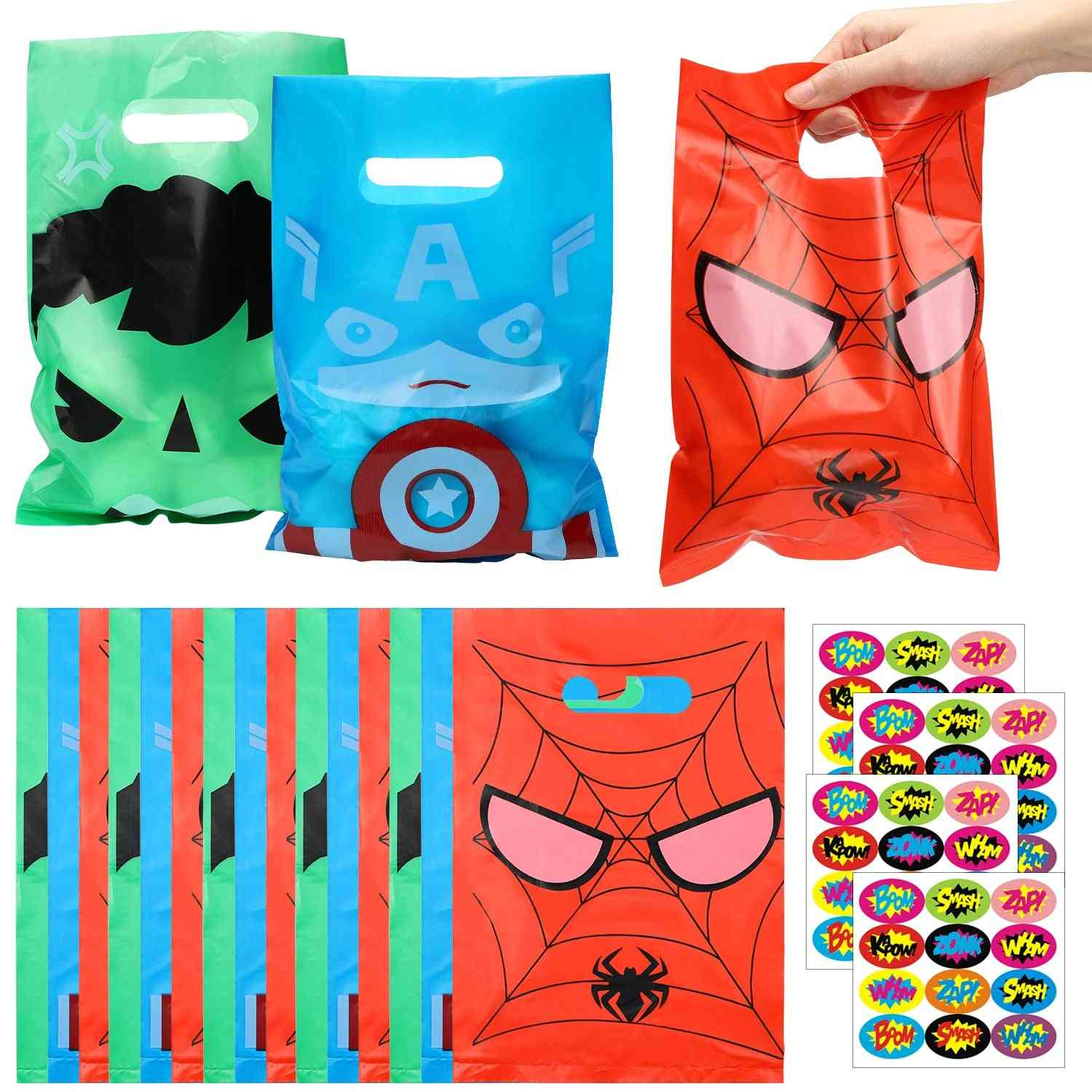 Superhero Plastic Bag With Sticker, Goodies Candy Bags, Party Decoration For Kids