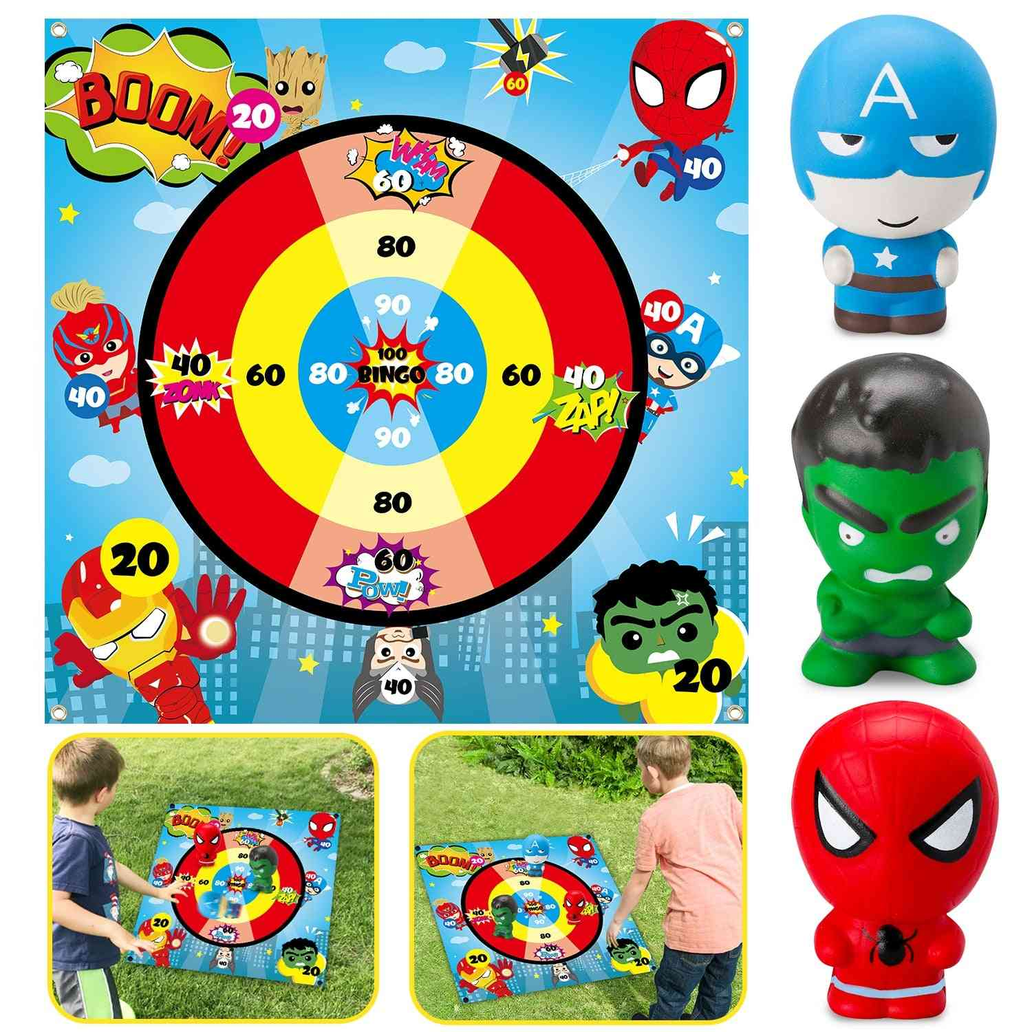 Superhero Flarts Lawn Dart Game Of Safe Version, Throwing Squishies Toy On Fabric Score Mat, Indoor Or Outdoor Yard Game For Kids