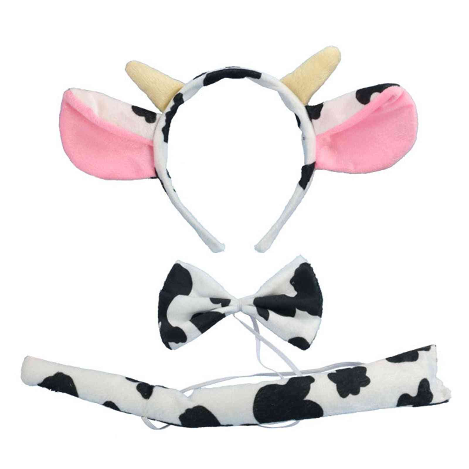 Kids Party Dress Up Costume, Cattle Cow Headband, Ears Bowtie, Tail Cow Headgear Dress Up,  Party Suit