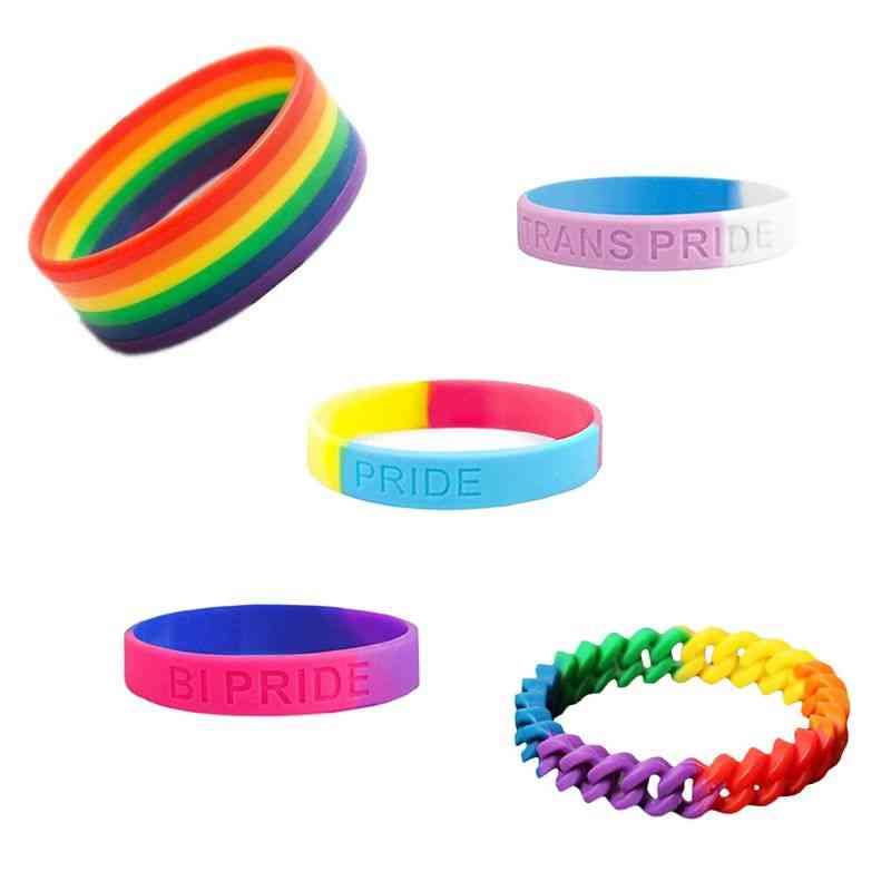 Unisex Rainbow Silicone Rubber Wristlet Bracelet