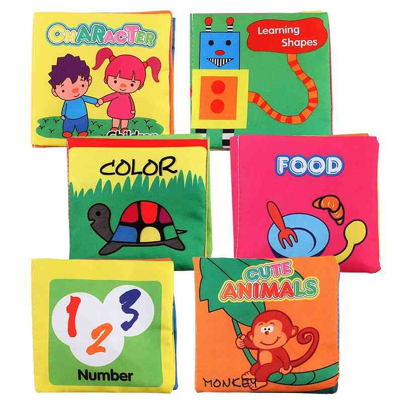 Early Educational Sets Baby Cloth Book Toy, Montessori Kid, Cognitive Color Pattern Enlightenment, Foldable Books
