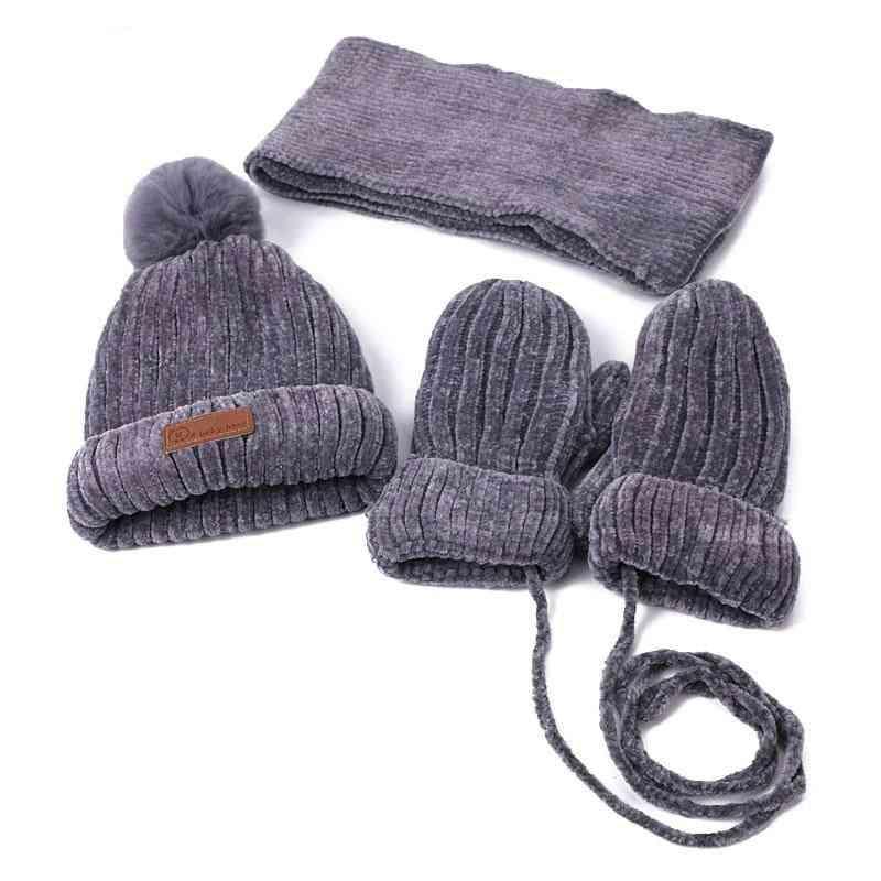 Children Winter Pom Hat Scarf Gloves Sets