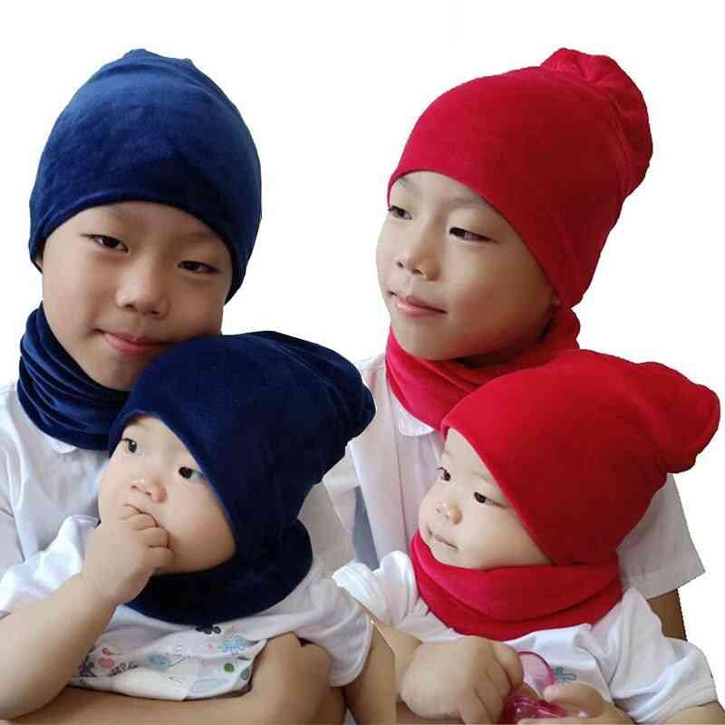 Kids Beanies Sets Plush Hats Scarf