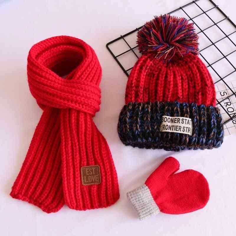 Children's Three-piece Hat And Scarf Gloves Set