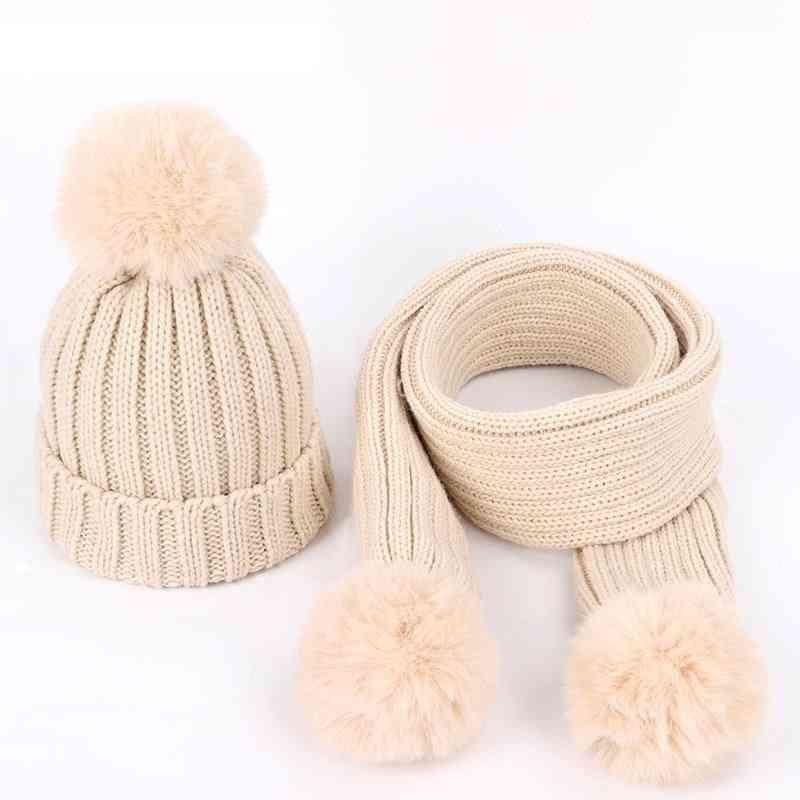 Children's Knit Beanies Hat Scarf 2 Pieces Set