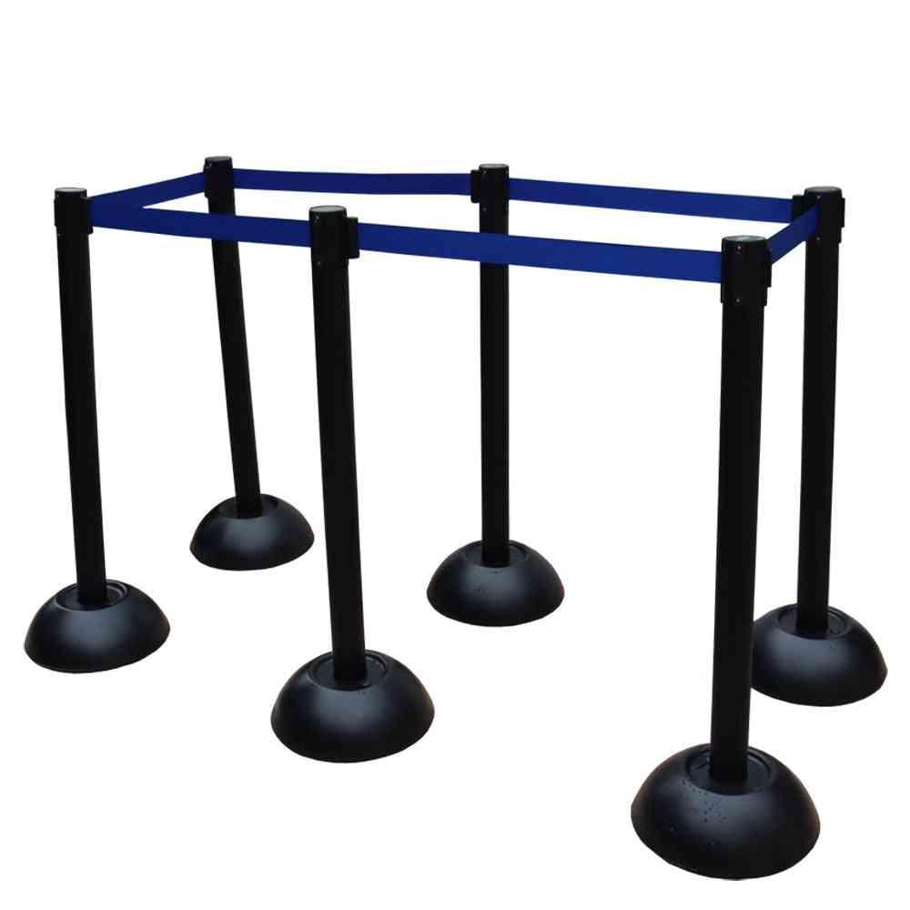 Plastic Crowd Control Barrier & Post Set Rope Ret Black Post Blue Rope